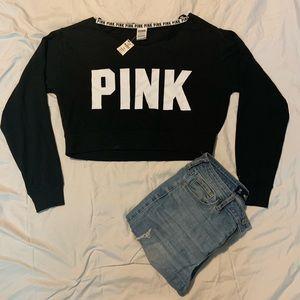 Pink Wide Neck Crop Top